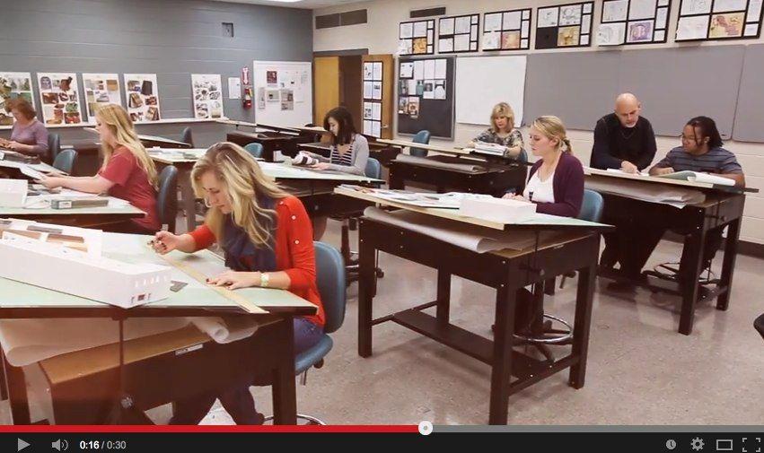 TV Commercial filmed in interior design studio classroom at Athens