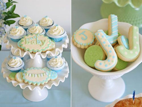 Baby Shower Cupcakes Blue ~ Elegant glory blue green boy baby shower cupcakes and cookies