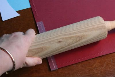 embossing folders and a rolling pin - genius! Will have to try this.