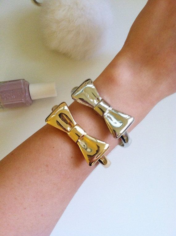 Bow Tie Bangle in Gold or Silver  Designer by LoveAndreasCloset, $15.00