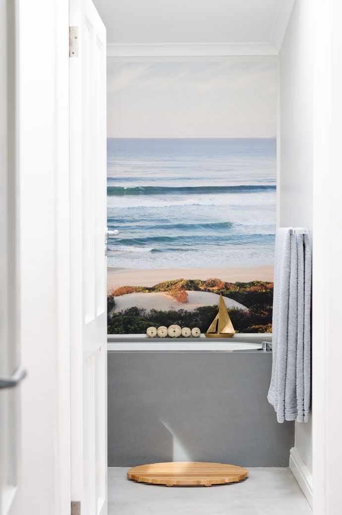 Wall Art In This Boys Bathroom Is A View Of The Sea At