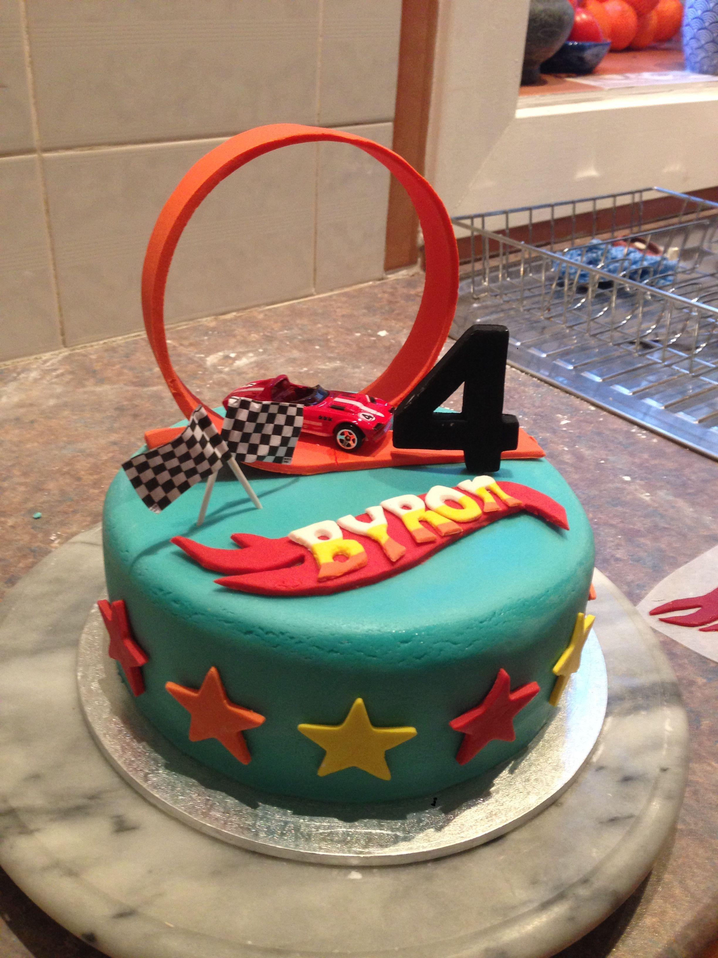 Hot Wheels Cake Race Track Fondant 4th Birthday Boy