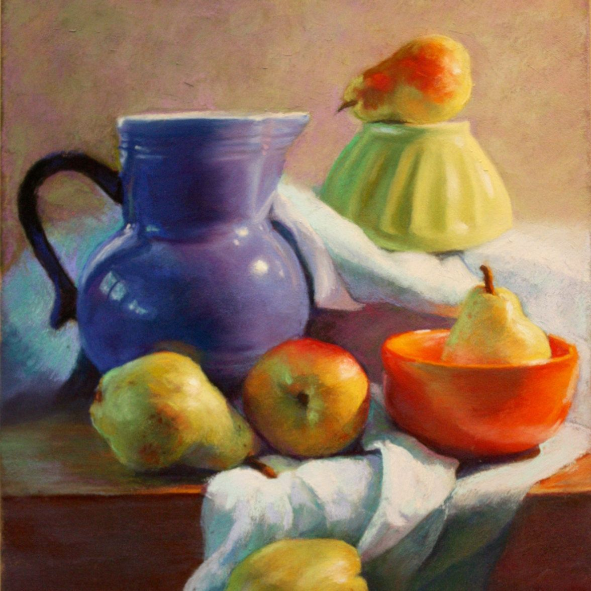 Pears with Blue Pitcher Original Signed Pastel Painting (185.00 USD) by ARTEQUALSJOY