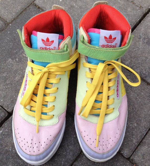 Retro Adidas high-top sneakers. Pastel color block in pink, lavender, white
