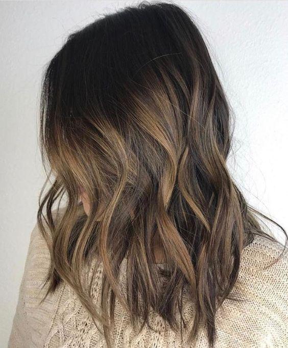 Dark Brunette Hair With Subtle Bayalage Highlights And Medium Length Dark Brunette Hair Brunette Hair Color Balayage Hair