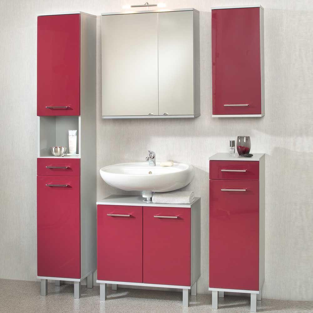 badmobel rot, badezimmer kombination in rot hochglanz (5-teilig) jetzt bestellen, Design ideen