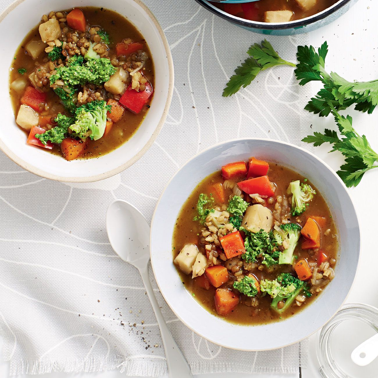 Vegetable Soup with Parsley Pesto Recipe forecasting