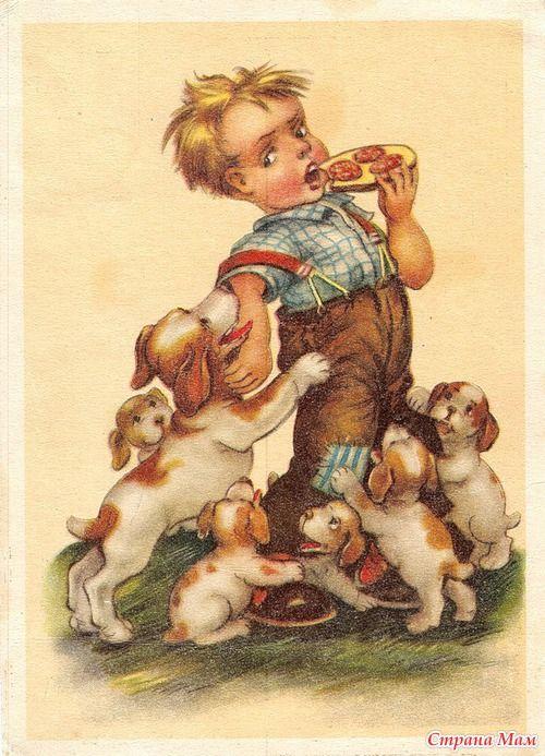 Праздником, старые открытки с собакой