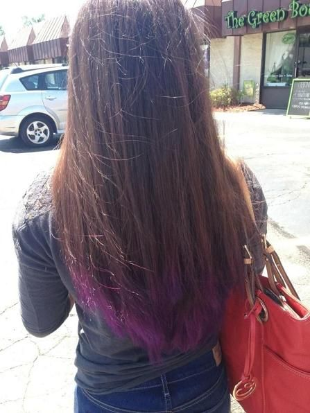 Purple Dip Dye Brown Hair Dye Dip Dye Hair Dip Dye Hair Brown