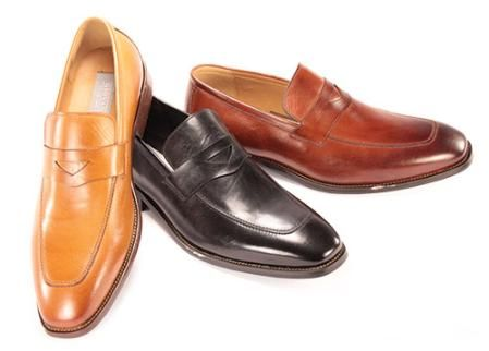 Men's Slip-on Dress Shoes in Black, Cognac, Camel $125 ...