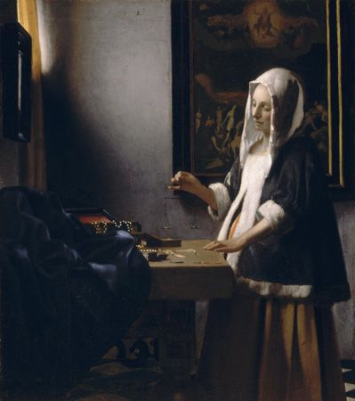 Deep space created by perspective lines and shadow, the intimate moment, the sheer love of painting: all the best of Vermeer. Woman Holding a Balance, Johannes Vermeer