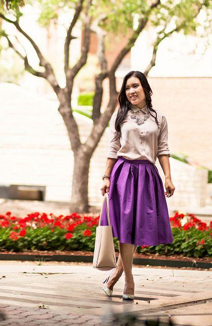 229e2a0b834a cute & little blog | petite fashion | everlane dusk collar blouse, chicwish purple  midi skirt, shoes of prey floral pumps, crystal statement necklace
