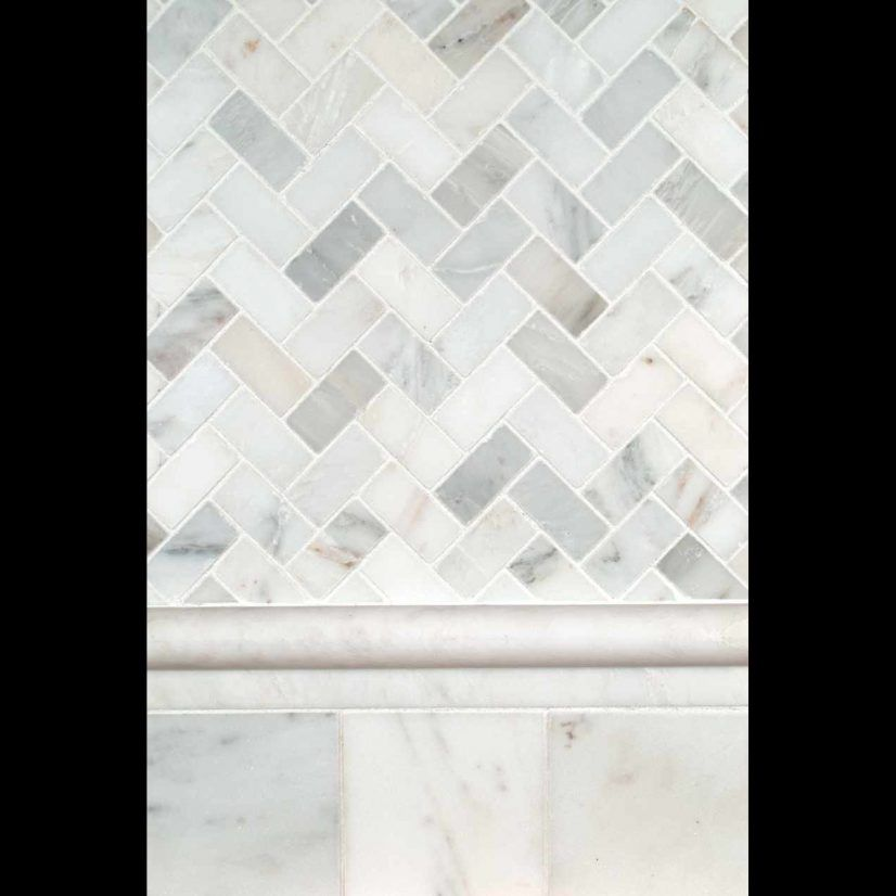 White Tile Herringbone Backsplash