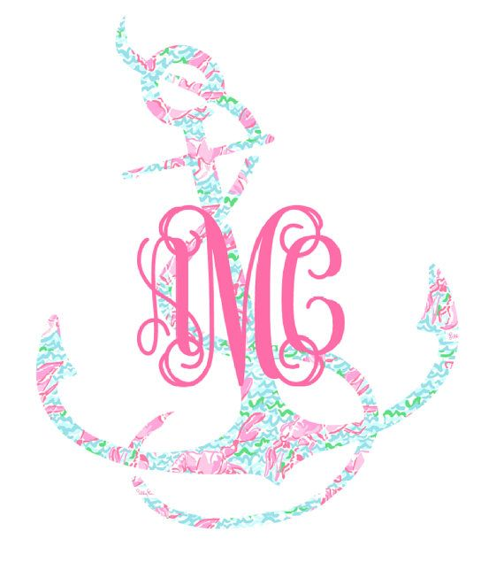 Monogrammed Lilly Pulitzer Anchor Decal All Things Lilly - Monogram car decal anchor