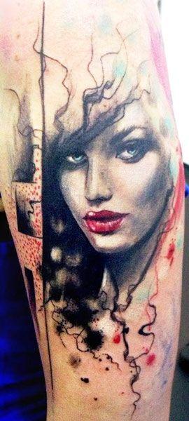 506385f01 Face tattoo by Adam Kremer | Trash Polka Tattoos | Tattoos, Tattoo ...