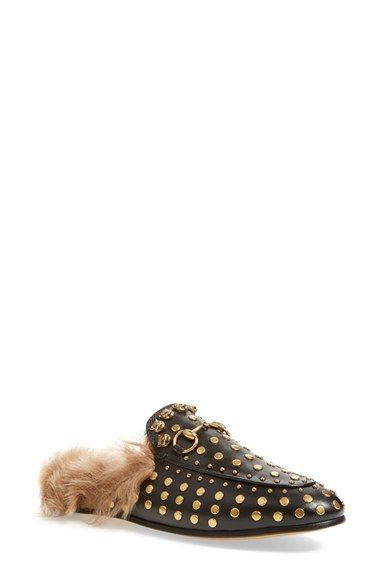 fb597ad5710 Free shipping and returns on Gucci Princetown Genuine Shearling Loafer Mule  (Women) at Nordstrom.com. Signature goldtone horsebit hardware hearkens  back to ...