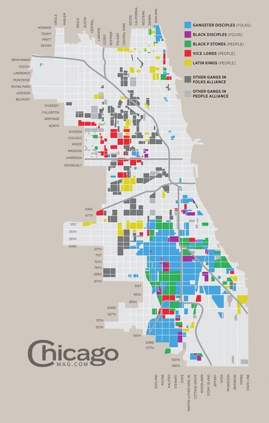 Chicago Gangs Map Chicago gang map | Maps and the like | Chicago map, Chicago gangs, Map