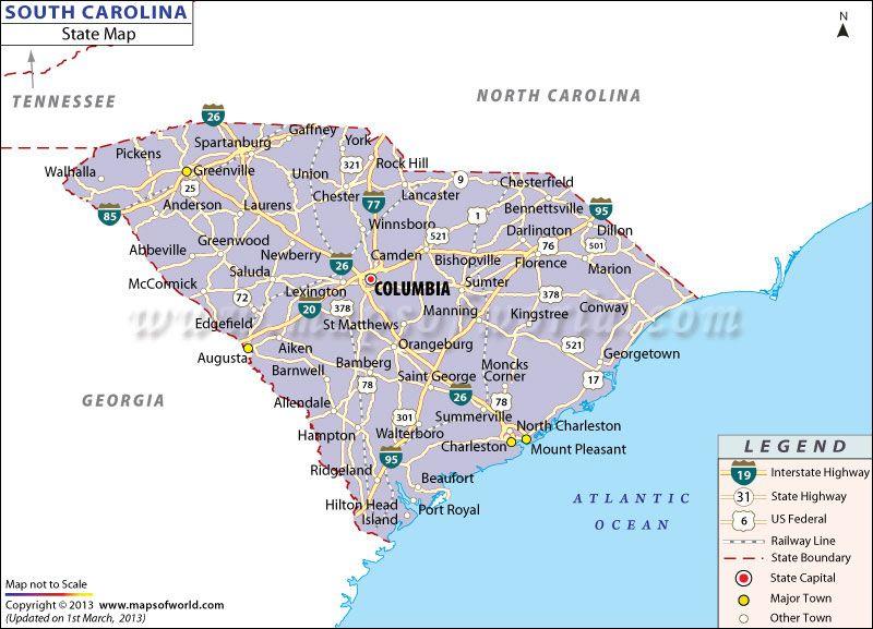 Map of South Carolina | South carolina, Map, State map