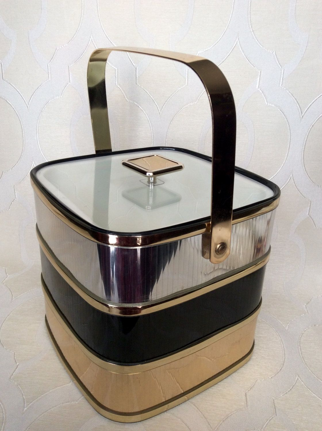 CULVER Mid Century Modern Square Ice Bucket In Black / Gold / Silver By  TCsVintageVentures On