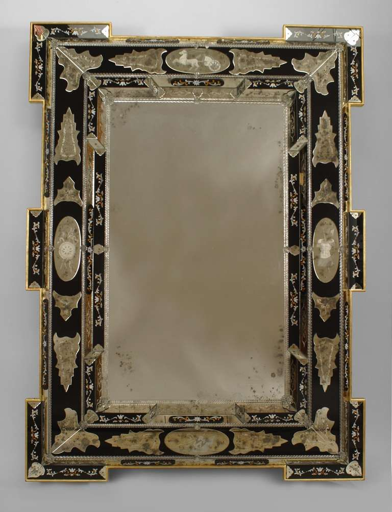 876586c7ed82 2 Italian Layered Glass Wall Mirrors with Neoclassical Designs image 2