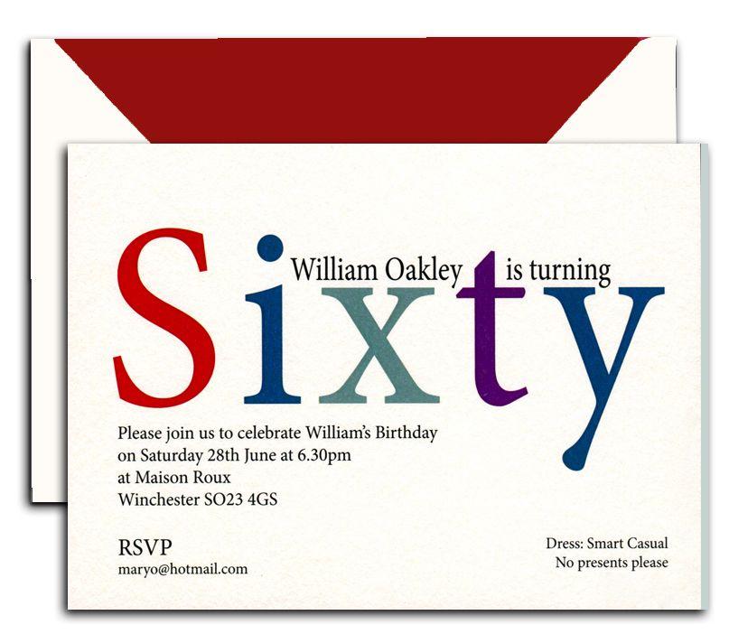 Peronalised 60th Birthday Invitations from Heritage Personalised ...
