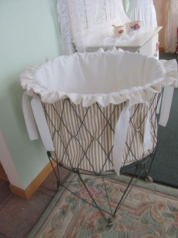 Vintage Wire French Laundry Hamper Liner Khaki White Canvas