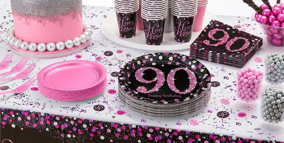 Pink Sparkling Celebration 90th Birthday Party Supplies