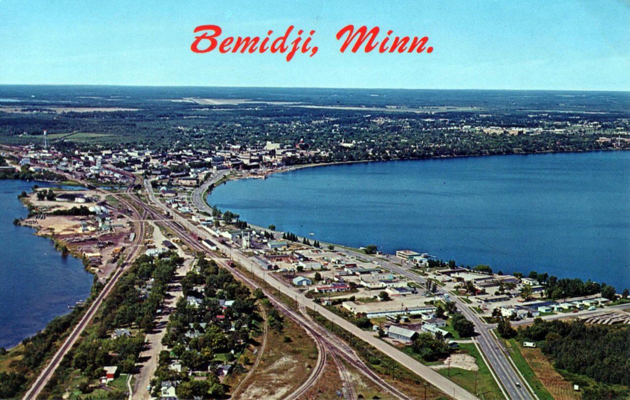 aerial view of bemidji minnesota 1960 s bemidji bemidji minnesota travel postcard aerial view of bemidji minnesota 1960