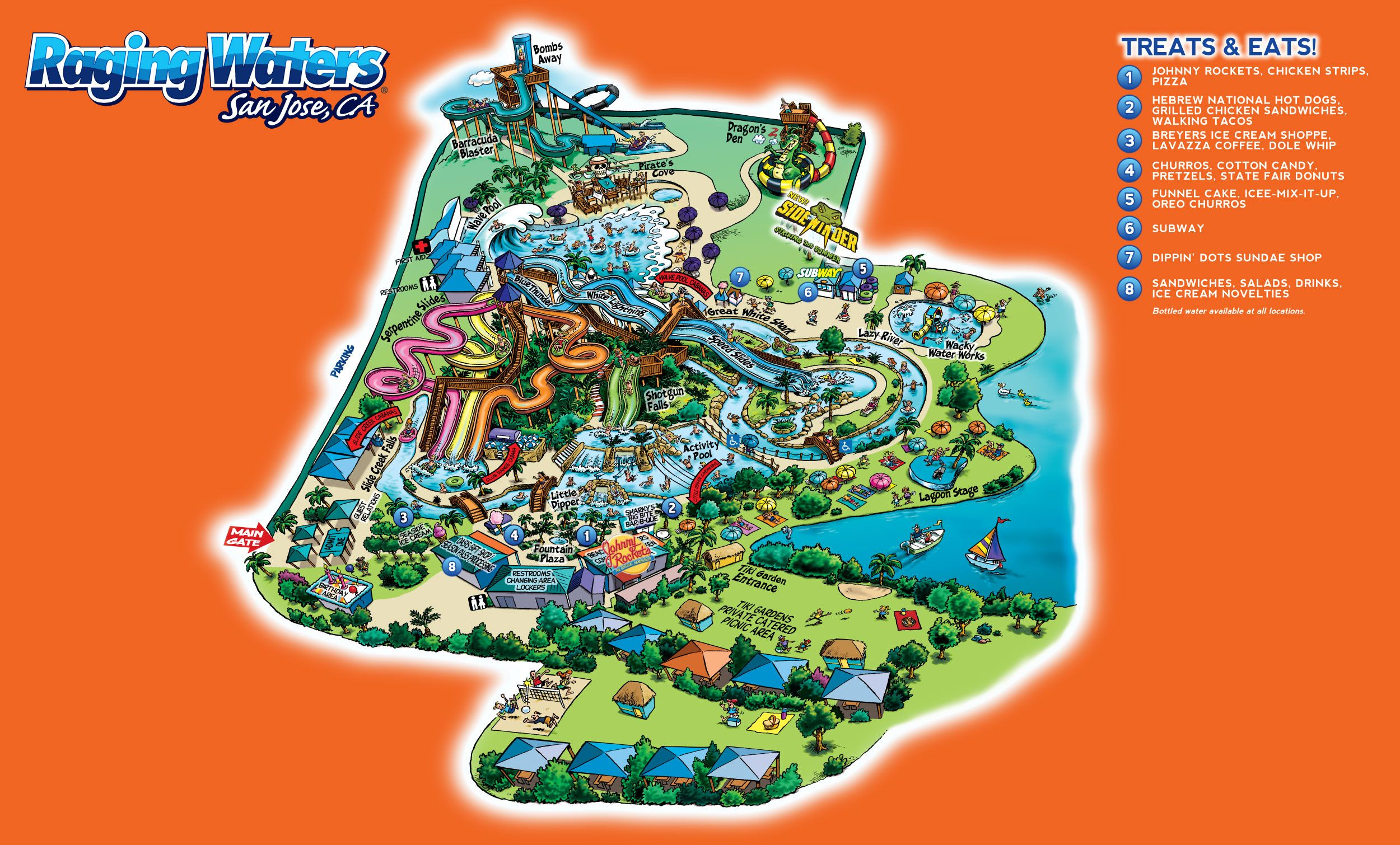 Water Park Map | Raging Waters San Jose | Places to Visit ...