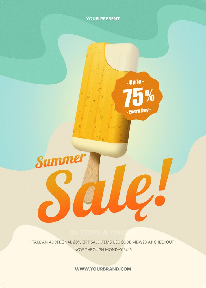 Summer Flyer Template Psd Signage Point Of