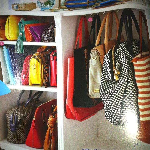 Purse organizer in walkin closet