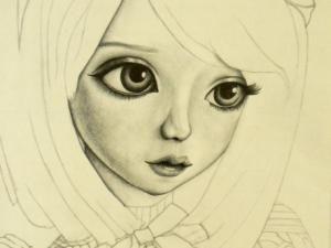 Portrait jeune fille steampunk dessin au crayon en cours - Dessin de jeune fille ...