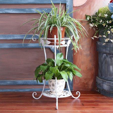2 Tier Metal Plant Stand Round Flower Pot Rack Planter Holder Modern For Garden Patio Indoor Outdoor Black White Walmart Com In 2020 Flower Pots Plant Stand Metal Plant Stand