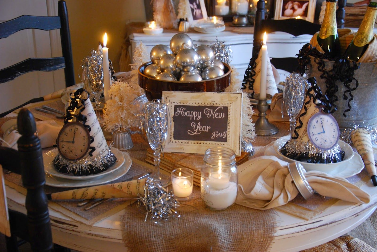 Farm Style New Years Tablescape On A Budget New Years Eve Decorations New Year Table Farm Table Decor
