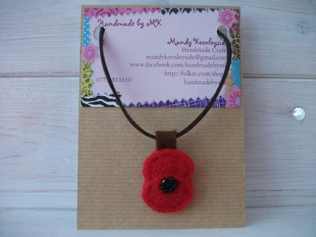 Needle Felted Beaded Poppy Pendant with soft cord necklace.  £6.00