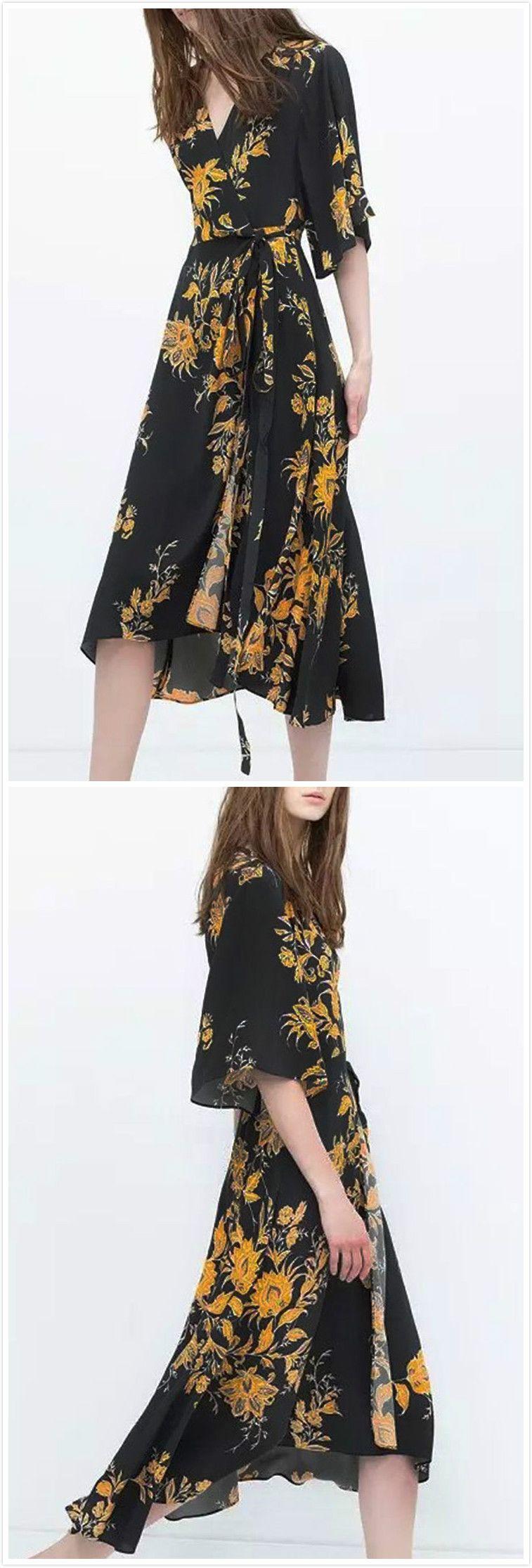 8a012c72d9713 Wonderful 3/4 Sleeve Surplice Front Style Surplice Midi Dress ...