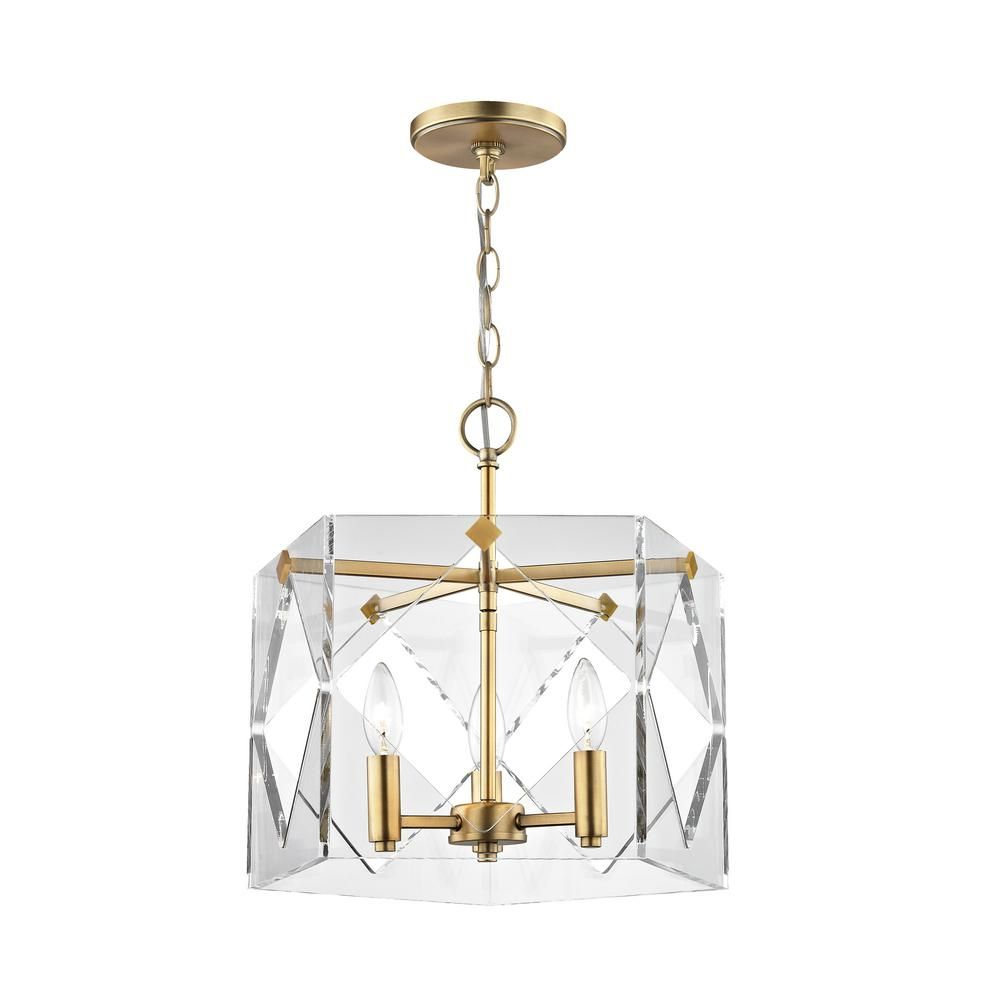 Home Decorators Collection 3-Light Aged Brass Acrylic Pendant