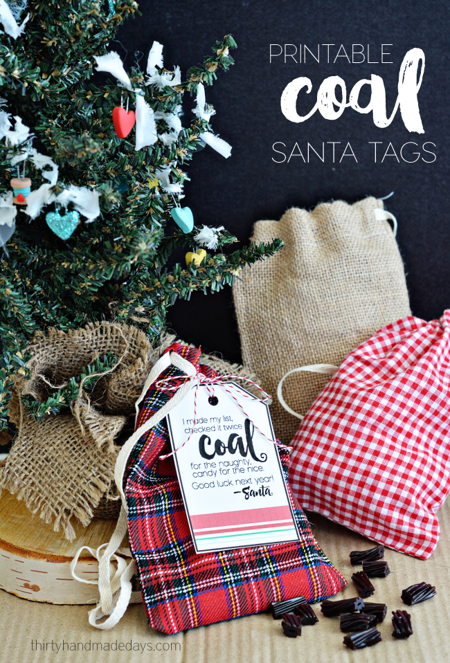 Printable Coal Santa Tags | Holidays | Christmas, Gifts, Santa