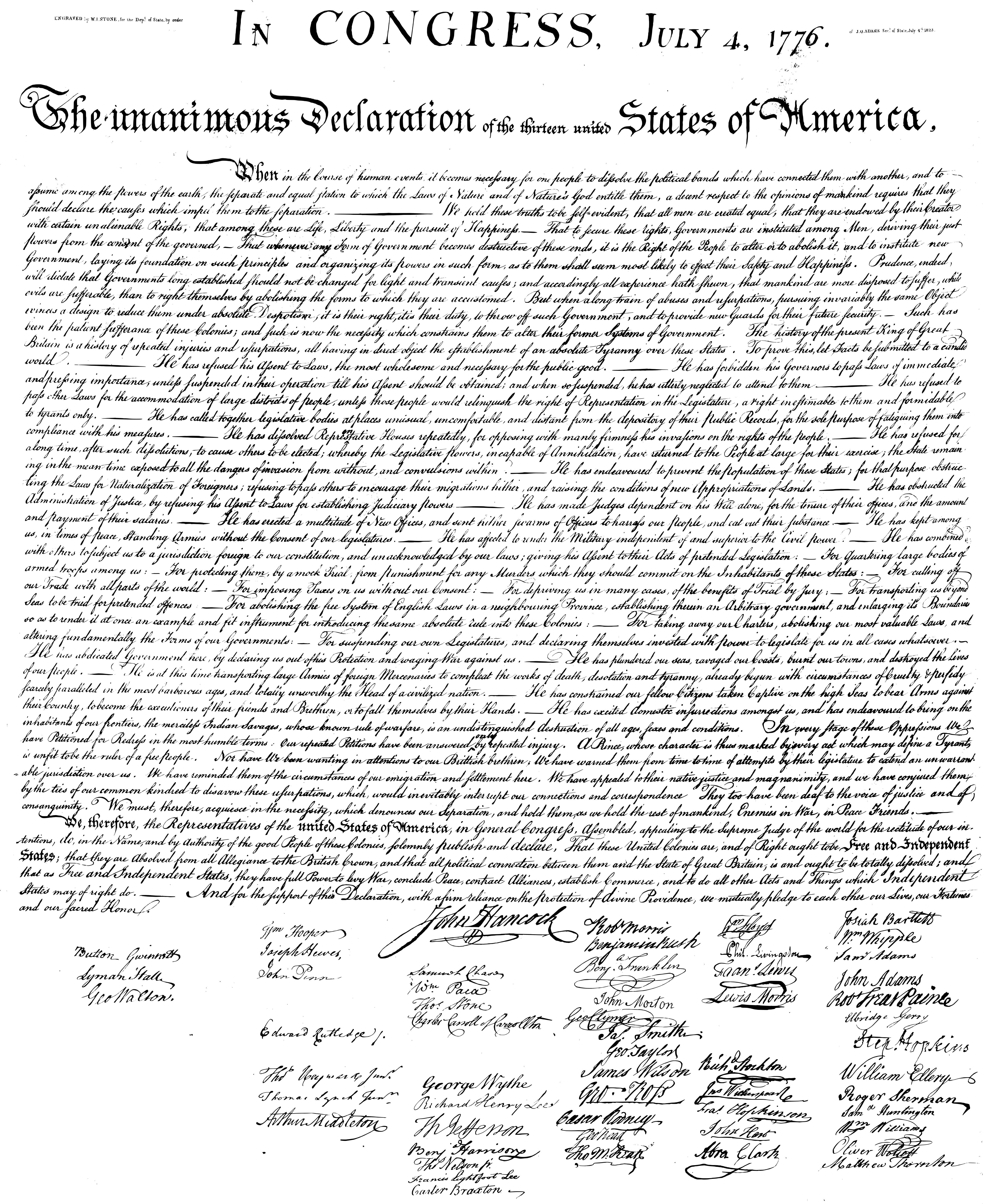 Declaration Of Independence Printable