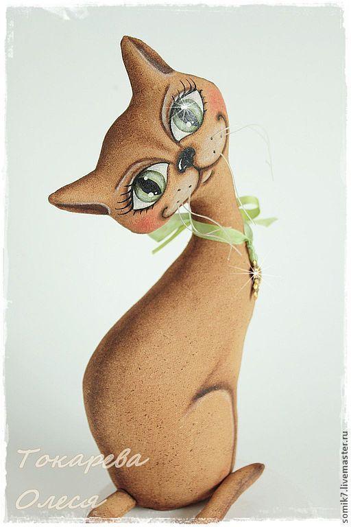 """Купить Кошечка """"Зеленоглазка"""" - кошечка, подарок на любой случай, примитив, примитивная игрушка, кофейная игрушка"""