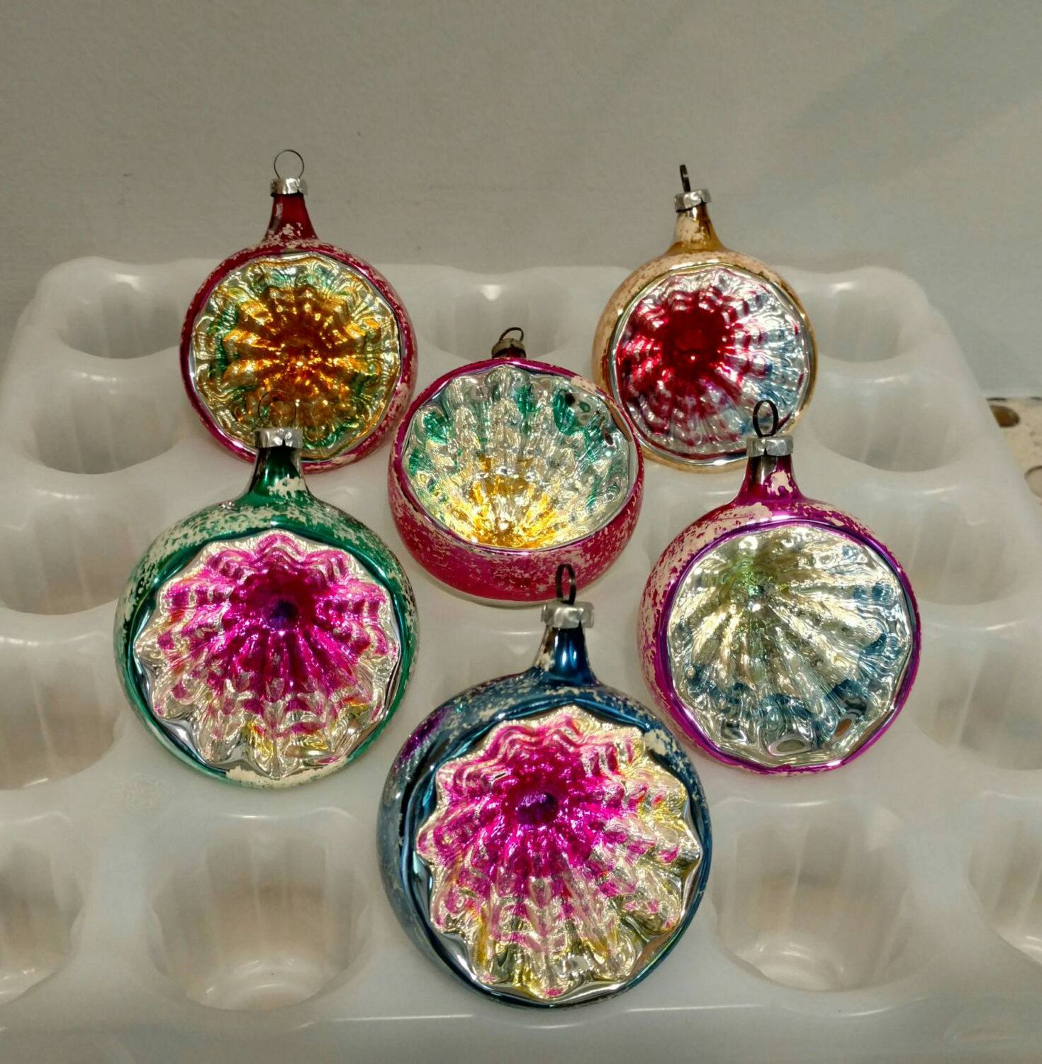 6 Deep Indent Reflector Vintage Christmas Tree Ornaments