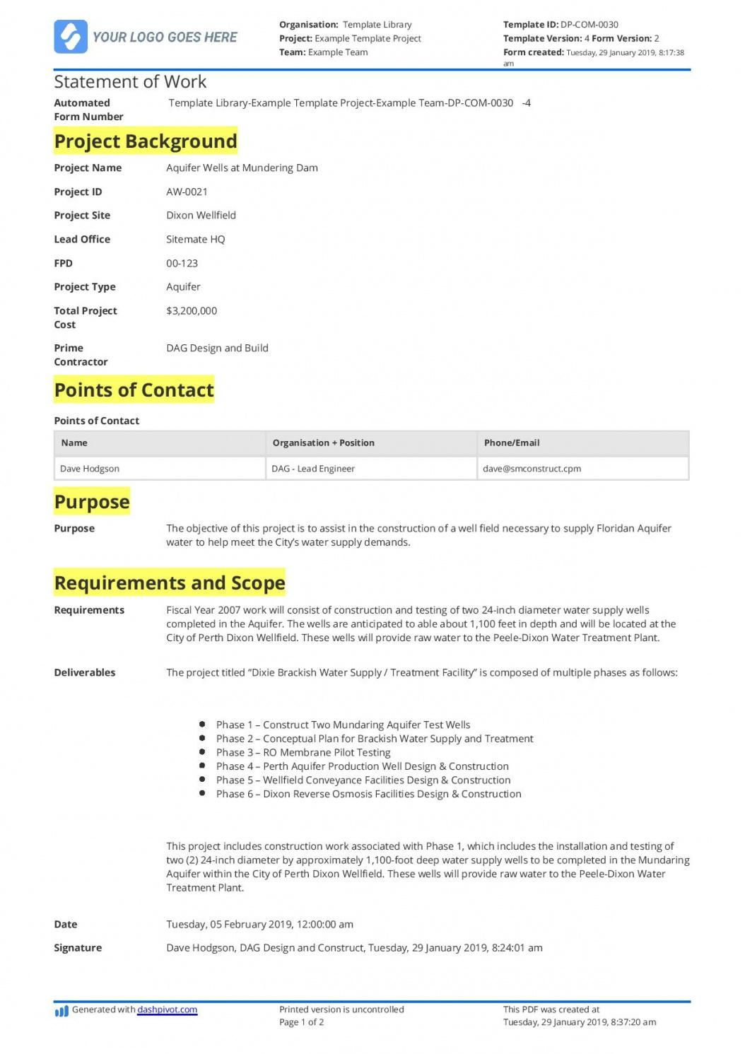 Browse Our Example Of Contractor Statement Of Work Template For Free Statement Of Work Statement Template Cover Page Template Word Free statement of work template