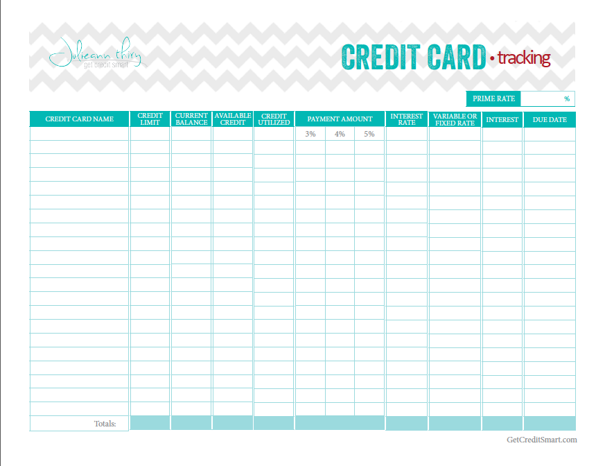 Perfect Free Credit Card Tracking Printable From Get Credit