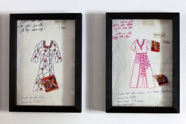Original sketches at Maskit in Tel Aviv. Maskit was founded by Ruth Dayan, former wife of General Moshe Dayan, in 1954 and is being restarted by Sharon Tal and her husband, Nir Tal.