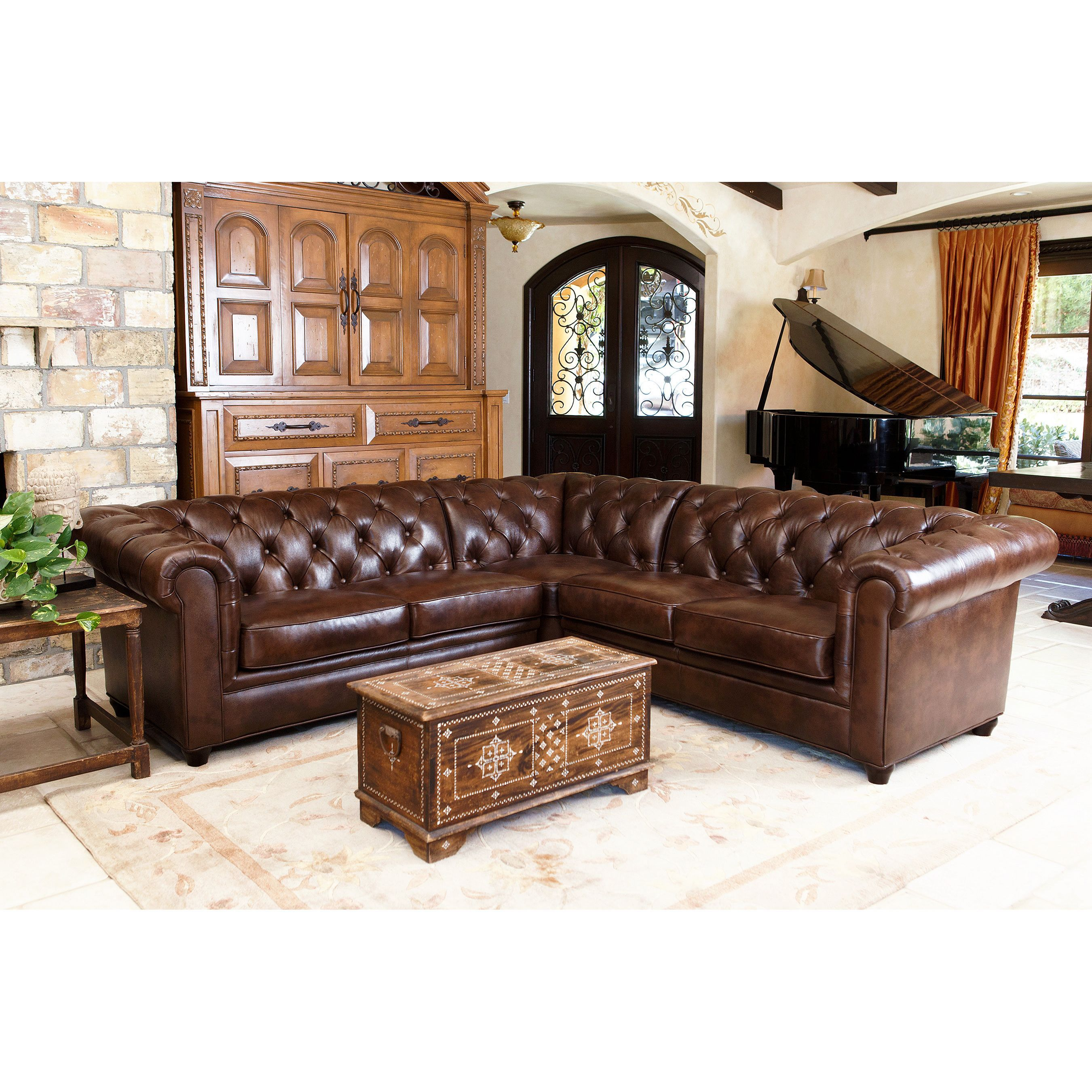 Fantastic Abbyson Tuscan Tufted Top Grain Leather 3 Piece Sectional Evergreenethics Interior Chair Design Evergreenethicsorg