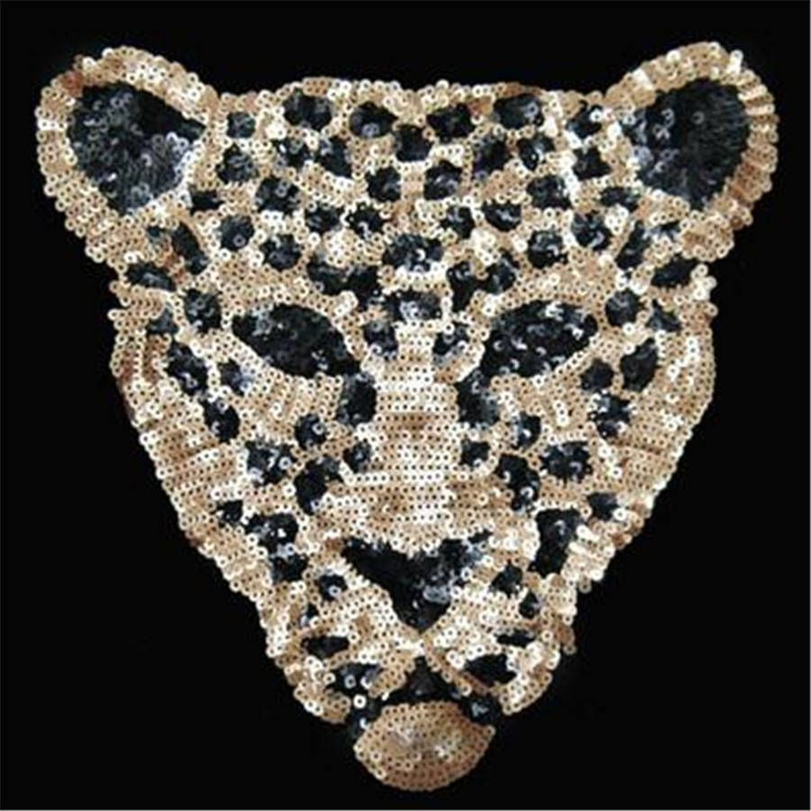 leopard head sequin embroidered fashion applique sew on patch diy clothe BIUS
