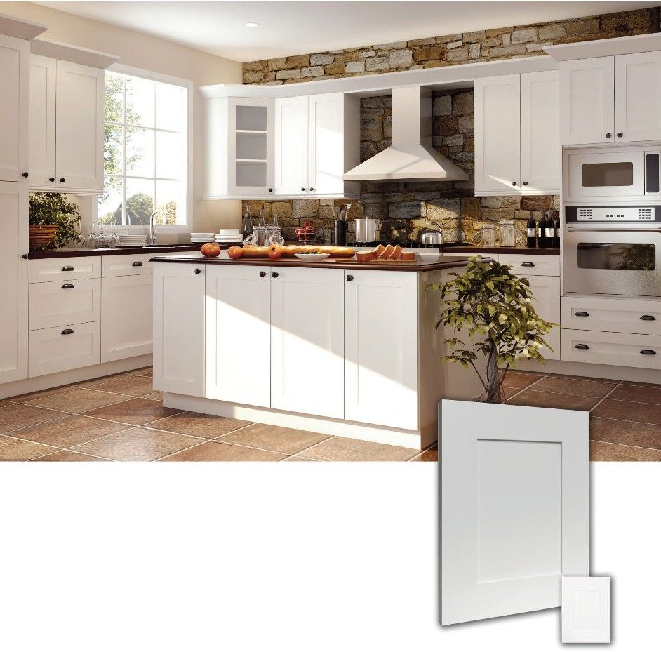 Ice white rta shaker style kitchen cabinets wood birch for Finished kitchen cabinets