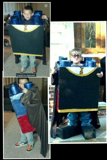 Lego Harry Potter costume. Cardboard box 4 oatmeal containers and spray paint & Lego Harry Potter costume. Cardboard box 4 oatmeal containers and ...