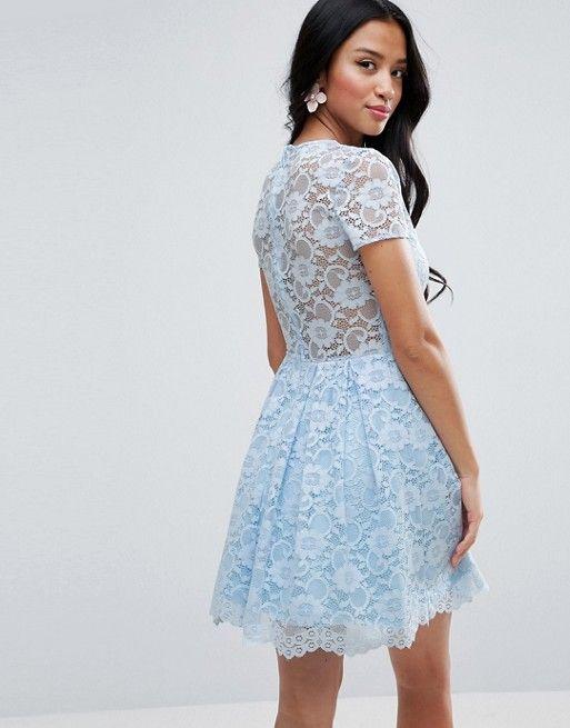 3edfcc87d7 ASOS PETITE Lace Skater Mini T-Shirt Dress