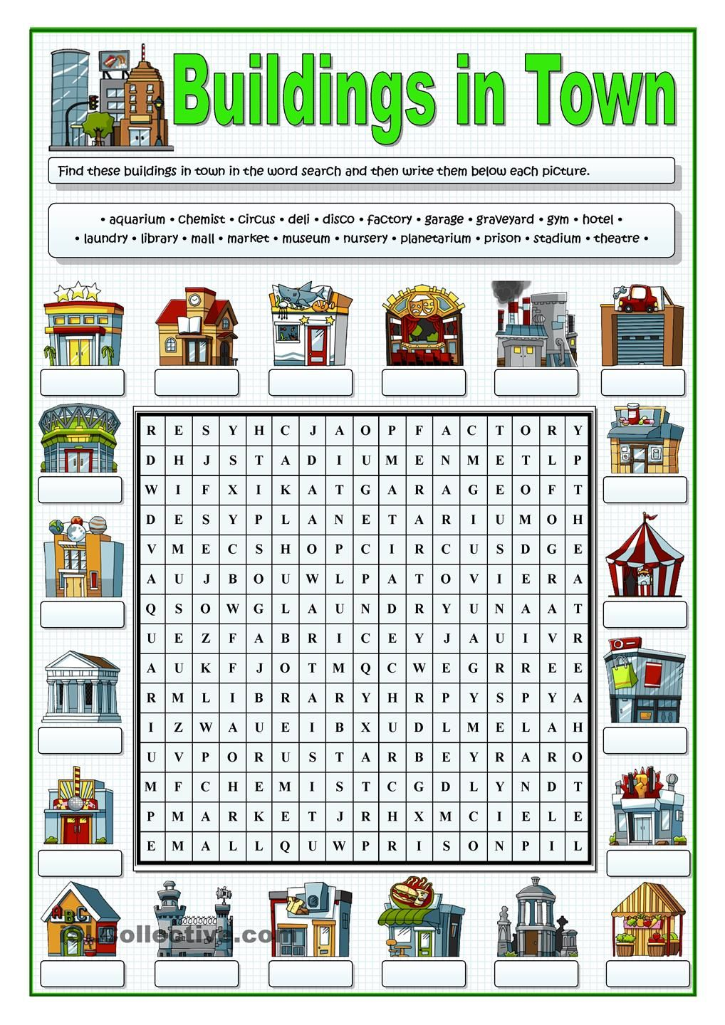buildings in town wordsearch school pinterest building english and worksheets. Black Bedroom Furniture Sets. Home Design Ideas